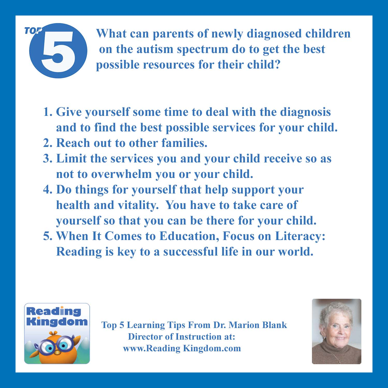 Ask Dr Blank What can parents of newly diagnosed children on the